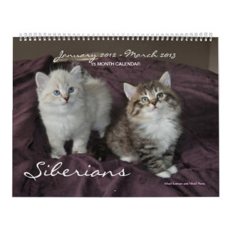 Siberianos gatos calendario del enero de 2014 a