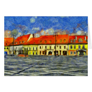 Sibiu architecture painting greeting card