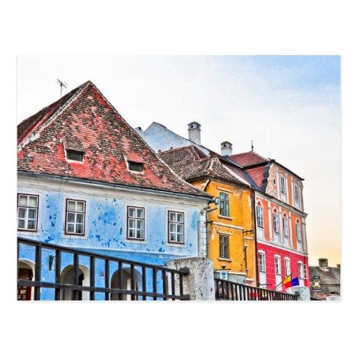 Sibiu buildings postcard