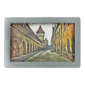 Sibiu Carpenter's tower painting Belt Buckle