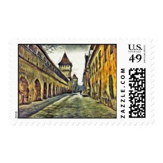 Sibiu Carpenter's tower painting Postage