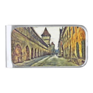 Sibiu Carpenter's tower painting Silver Finish Money Clip
