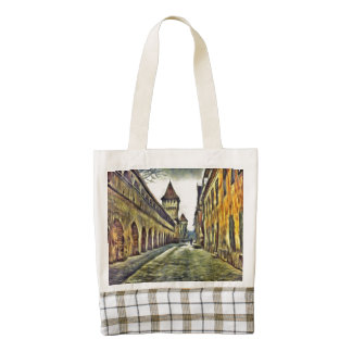 Sibiu Carpenter's tower painting Zazzle HEART Tote Bag