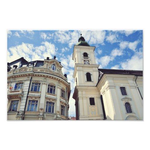 Sibiu tower and city hall photo print