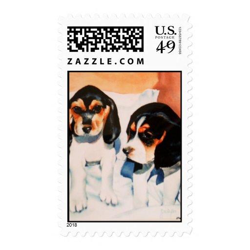 """Sibling beagle pups"" Postage"