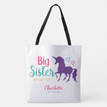Sibling Big Sister Colorful Unicorn Personalzied Tote Bag