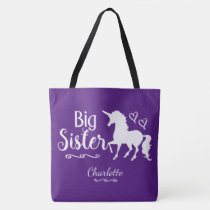 Sibling Big Sister Unicorn Silhouette Pink Purple Tote Bag