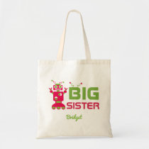 Sibling Robot Big Sister Pink Kids Personalized Tote Bag