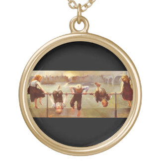 Siblings At Play Dorothy Tennant Vintage Fine Art Round Pendant Necklace