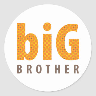 SIBLINGS COLLECTION - big brother {orange} Classic Round Sticker