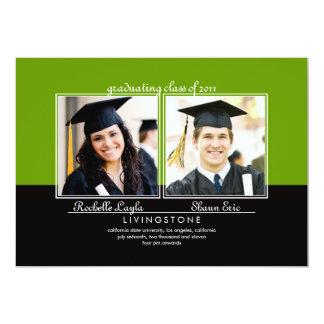 "Siblings Two Photo Graduation Announcement 5"" X 7"" Invitation Card"