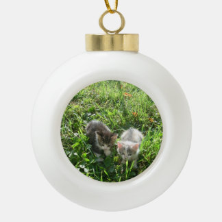 Sibs Chillin Ceramic Ball Christmas Ornament