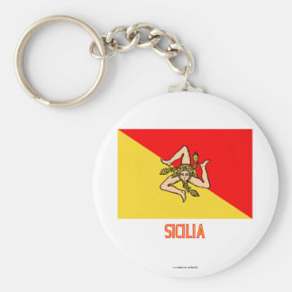 Sicilia flag with name keychains
