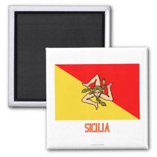 Sicilia flag with name magnet
