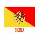 Sicilia flag with name postcard