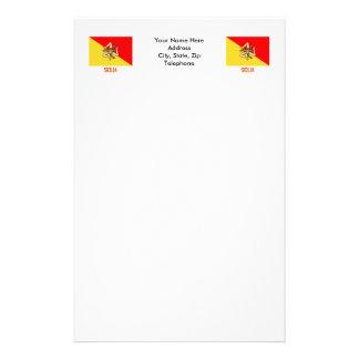 Sicilia flag with name stationery design