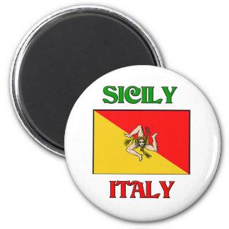 Sicilia Italia Imán Redondo 5 Cm