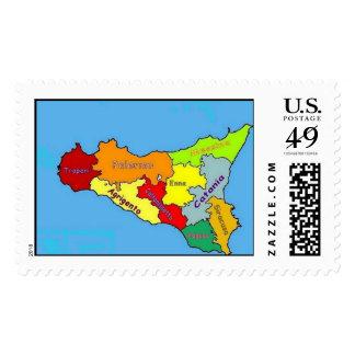 Sicilia Map postage