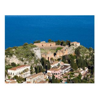 Sicilia - teatro antiguo de la postal de Taormina