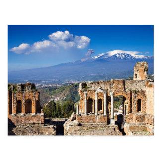 Sicilia - teatro griego de la postal de Taormina