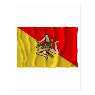 Sicilia waving flag postcard