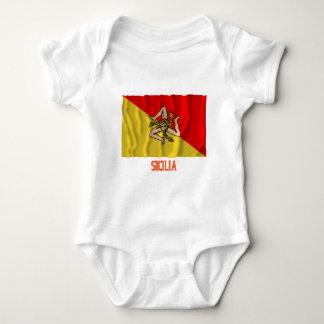 Sicilia waving flag with name infant creeper