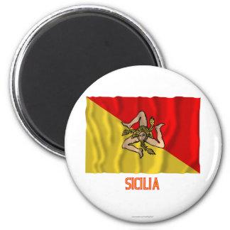 Sicilia waving flag with name magnet