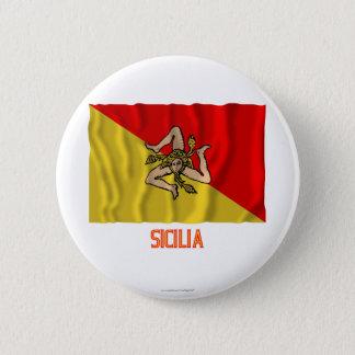 Sicilia waving flag with name pinback button