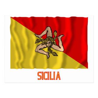Sicilia waving flag with name postcard