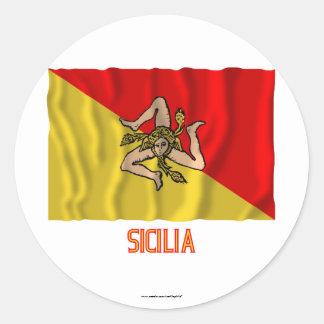 Sicilia waving flag with name round sticker