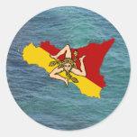 Sicilia y Trinacria sobre el mar Etiquetas Redondas