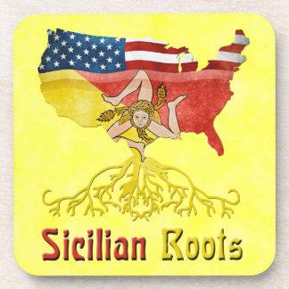 Sicilian American Roots Cork Coasters