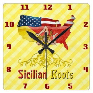 Sicilian American Roots Square Wall Clock