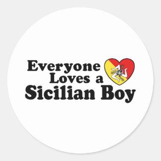 Sicilian Boy Classic Round Sticker