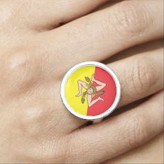 Sicilian Flag with Triskelion Ring
