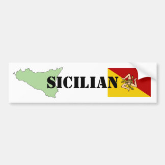 Sicilian Map & Flag Bumper Sticker