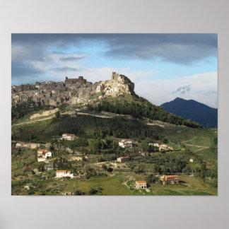 Sicilian Mountaintop Village Poster