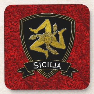 Sicilian Trinacria Black Gold Red Foil Drink Coaster