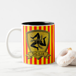 Sicilian Trinacria Black & Gold Two-Tone Coffee Mug