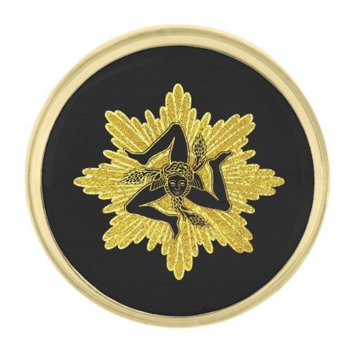 Sicilian Trinacria Gold Black Gold Finish Lapel Pin
