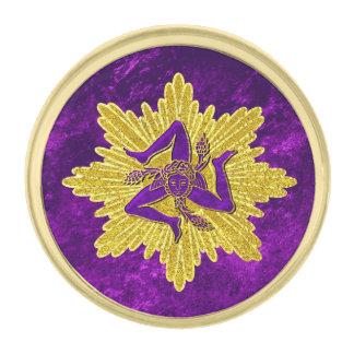 Sicilian Trinacria Gold Purple Gold Finish Lapel Pin