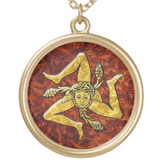 Sicilian Trinacria in Gold Burl Wood Gold Plated Necklace