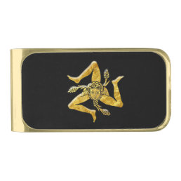 Sicilian Trinacria in Gold Gold Finish Money Clip