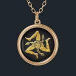 """Sicilian Trinacria in Gold Gold Finish Necklace<br><div class=""""desc"""">Sicilian Trinacria in Gold</div>"""