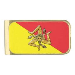Sicilian Trinacria in Gold on Flag Gold Finish Money Clip