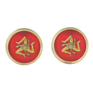 Sicilian Trinacria in Gold on Heart Gold Cufflinks