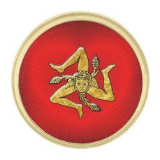 Sicilian Trinacria in Gold on Heart Gold Finish Lapel Pin