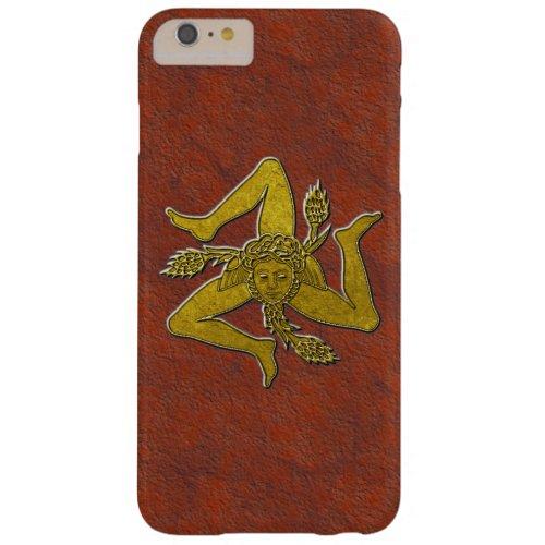 Sicilian Trinacria in Gold on Rust Phone Case