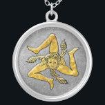 """Sicilian Trinacria in Gold on Silver Silver Plated Necklace<br><div class=""""desc"""">Sicilian Trinacria in Gold on Silver</div>"""