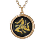 Sicilian Trinacria in Gold Round Pendant Necklace